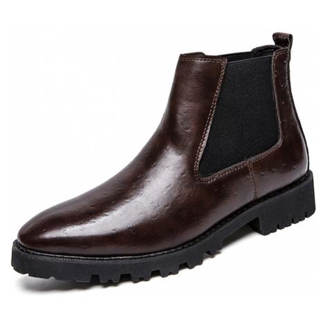 Herren Vintage Elastic Slip-on Business Leder Knöchel Chelsea Stiefel