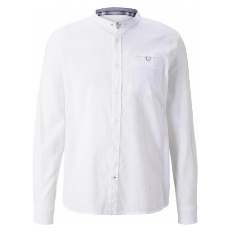 TOM TAILOR Herren Hemd mit Mao-Kragen aus Leinengemisch, weiß