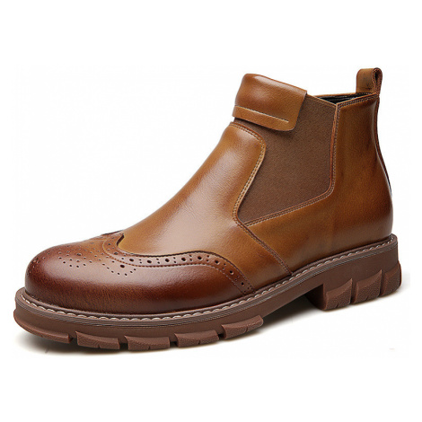 Herren Classic Brogue Geschnitzte Elastic Slip On Leder Chelsea Stiefel