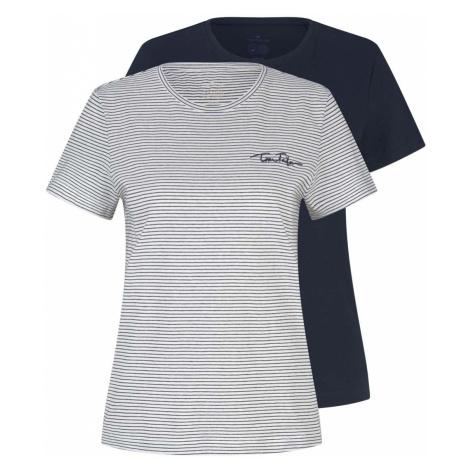 TOM TAILOR Damen Doppelpack T-Shirt mit Bio-Baumwolle, blau