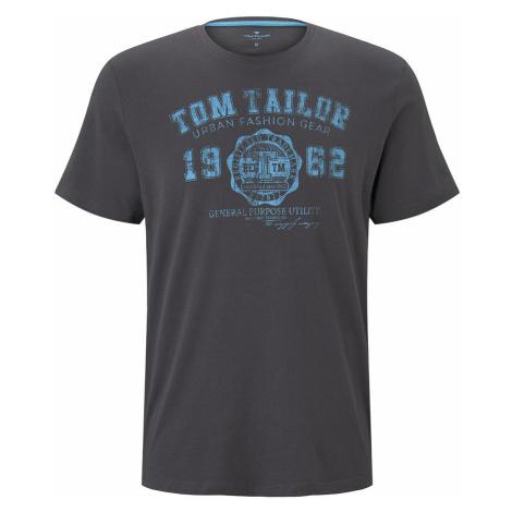 TOM TAILOR Herren T-Shirt mit Logo-Print, grau, unifarben mit Print