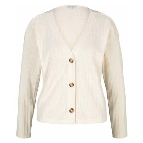 TOM TAILOR DENIM Damen kurzer Cardigan mit V-Ausschnitt, beige