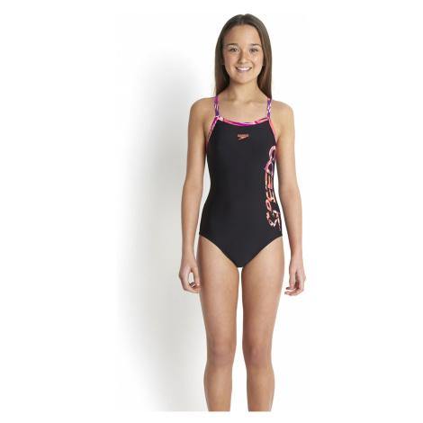 Speedo Mädchen Muscleback Badeanzug mit dünnen Trägern, Schwarz/Lila