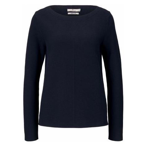 TOM TAILOR Damen Strukturierter Pullover mit Bio-Baumwolle, blau