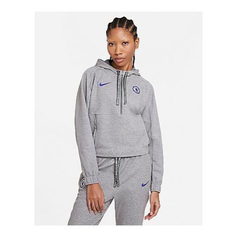 Nike Chelsea FC Fußball-Hoodie mit Crop-Design und Halbreißverschluss für Damen - Anthracite/Hea