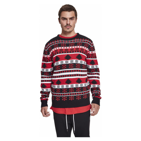 Urban Classics Pullover SNOWFLAKE CHRISTMAS TREE SWEATER TB2522 Schwarz/Rot/Weiss Black/Fire Red