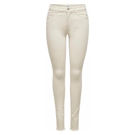 Only Damen Jeans Onlblush Mid Sk Ank Raw Dot019 - Skinny Fit - Beige - Ecru