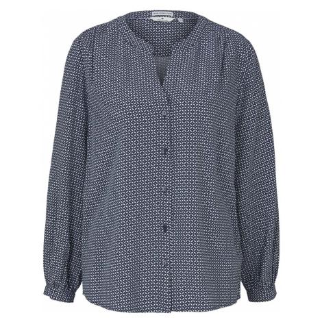 TOM TAILOR Damen gemusterte Bluse mit LENZING(TM) ECOVERO(TM) und Knopfleiste, blau