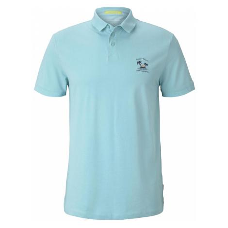 TOM TAILOR DENIM Herren Poloshirt mit Print, blau