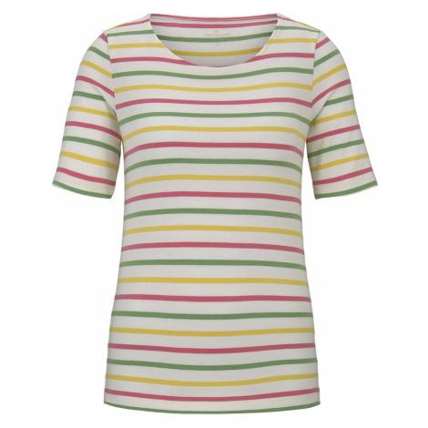TOM TAILOR Damen Buntes T-Shirt mit Streifen, beige