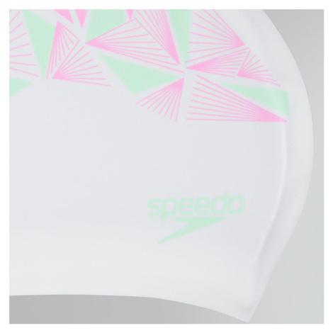 Speedo Long Hair Badekappe printed, Weiß/Pink/Grün