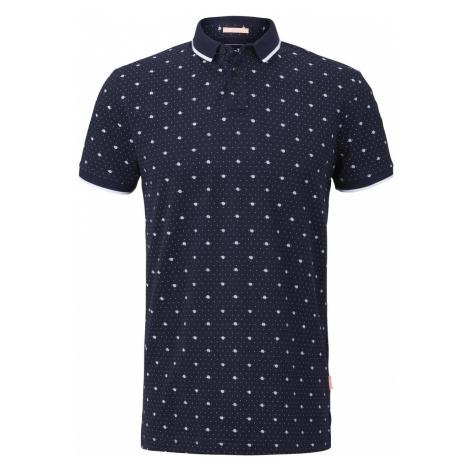 TOM TAILOR DENIM Herren Poloshirt mit Allover-Print, blau, unifarben