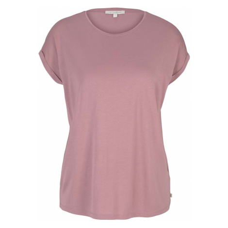 TOM TAILOR DENIM Damen Fließendes Basic T-Shirt, rosa