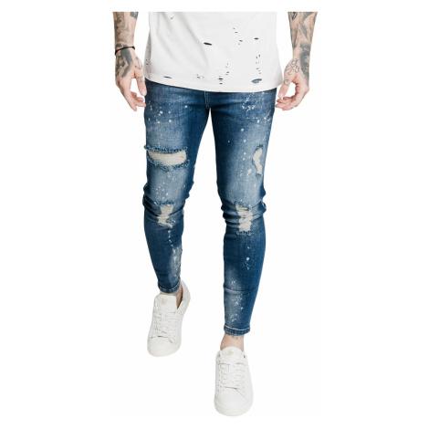 SikSilk Jeans Herren DISTRESSED SKINNY RIOT WASH DENIMS SS-17580 Raw Blue Blau