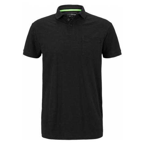 TOM TAILOR DENIM Herren Poloshirt mit Streifenstruktur, schwarz