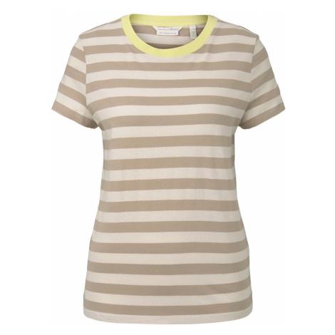 TOM TAILOR DENIM Damen Gestreiftes T-Shirt mit Bio-Baumwolle, beige