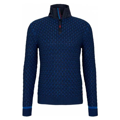 TOM TAILOR Herren Troyer Pullover mit Schachbrett-Struktur, blau