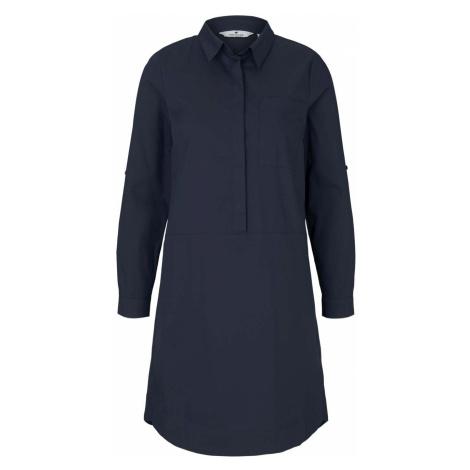 TOM TAILOR Damen Blusenkleid mit Faltendetails, blau