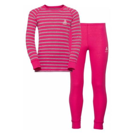 Odlo WARM KIDS SHIRT L/S + PANTS rosa - Kinder Funktionsset