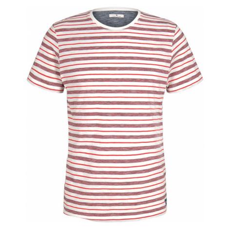 TOM TAILOR Herren gestreiftes T-Shirt mit Rundhalsausschnitt, rot