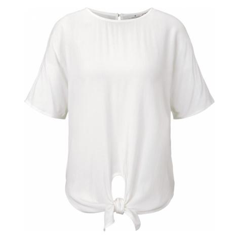 TOM TAILOR Damen Gemusterte Kurzarm-Bluse mit Knotendetail, weiß, unifarben