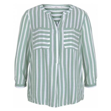 TOM TAILOR Damen Gestreifte Bluse mit Taschen, grün