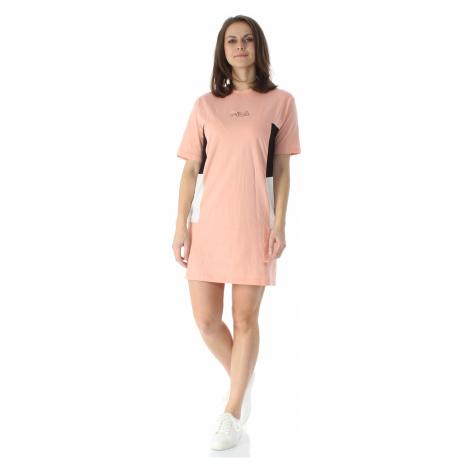 Fila Kleid Damen JADYN BLOCKED TEE DRESS 683291 Rosa B057 Coral Cloud-Black-Bright White