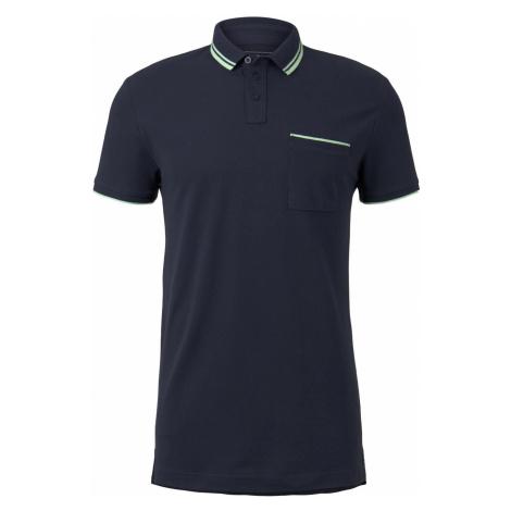 TOM TAILOR DENIM Herren Poloshirt mit Kontraststreifen, blau