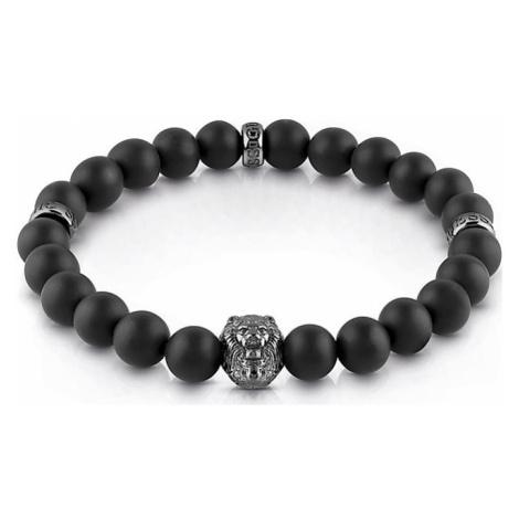 Guess Herrenarmband Black Beads Lion UMB29000