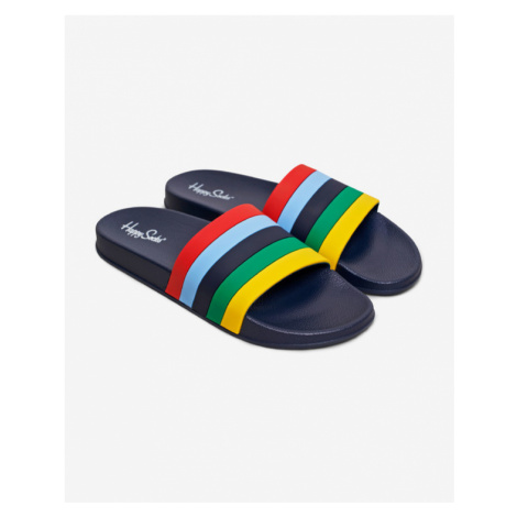 Happy Socks Pool Slider Stripe Pantoffeln Blau