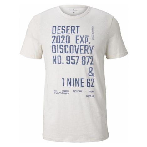 TOM TAILOR Herren Meliertes T-Shirt mit Print, beige