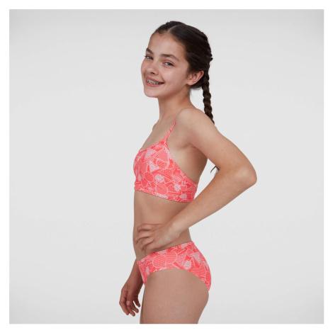 Speedo Junior DazzleGeo Crossover Back Bikini, Rot/Rosa