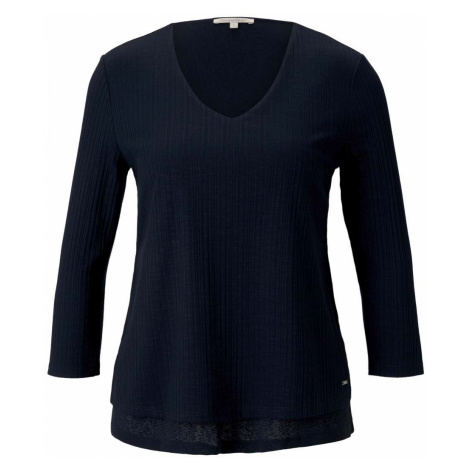 TOM TAILOR DENIM Damen Shirt mit Ripp-Struktur, blau