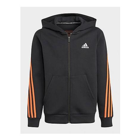 Adidas 3-Streifen Doubleknit Kapuzenjacke - Black / True Orange, Black / True Orange