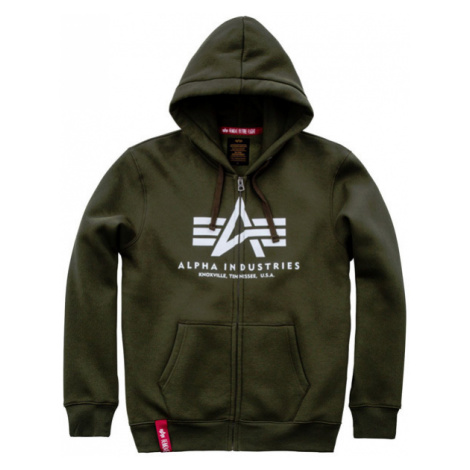 Herren Sweatshirt Alpha Industries Basic Zip Hoody Dark Green