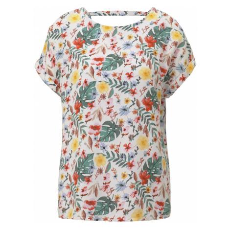TOM TAILOR Damen Gemusterte Kurzarm-Bluse mit Rückendetail, weiß, gemustert