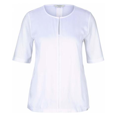 TOM TAILOR MINE TO FIVE Damen T-Shirt mit Stoff-Mix, weiß
