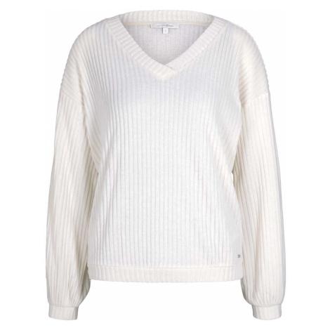 TOM TAILOR DENIM Damen Langarmshirt mit V-Ausschnitt, beige