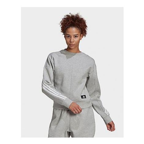 Adidas Sportswear Wrapped 3-Streifen Sweatshirt - Medium Grey Heather / White - Damen, Medium Gr