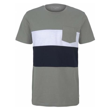 TOM TAILOR DENIM Herren T-Shirt im Colour Blocking, grün
