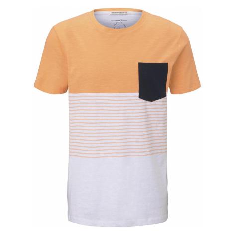 TOM TAILOR DENIM Herren T-Shirt mit Blockstreifenmuster und Brusttasche, orange