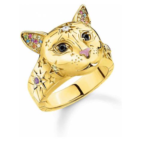 Thomas Sabo TR2290-471-7 Damenring Katze Silber Vergoldet