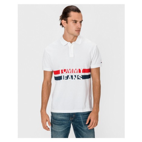 Tommy Jeans Block Stripe Polo T-Shirt Weiß Tommy Hilfiger