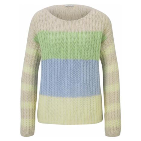 TOM TAILOR Damen Sweater im Color-Block-Design, beige