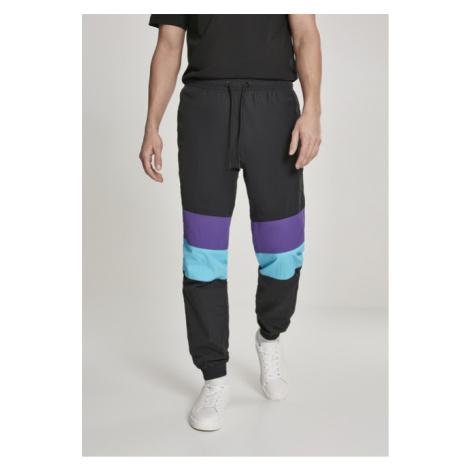 Urban Classics 3-Tone Crinkle Track Pants black/ultraviolet/aqua