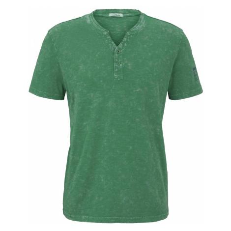 TOM TAILOR Herren Henley-T-Shirt im Washed-Look, grün