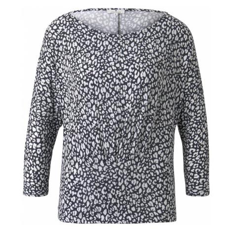 TOM TAILOR Damen Gemustertes T-Shirt mit Zierfalten, blau