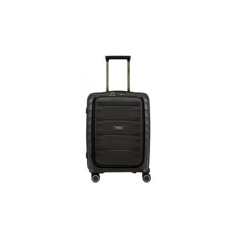 Trolley HIGHLIGHT, 55 cm, Trolley, black, 4 Rollen, Kabinengepäck mit Vortasche Titan