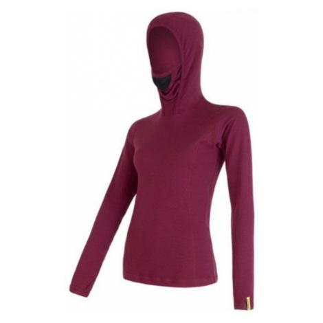 Damen T-Shirt mit Kapuze Sensor Merino DF dark violet 16200108