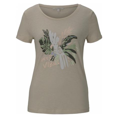 TOM TAILOR DENIM Damen T-Shirt mit Brustprint, beige